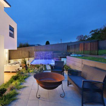 outdoor fireplace area
